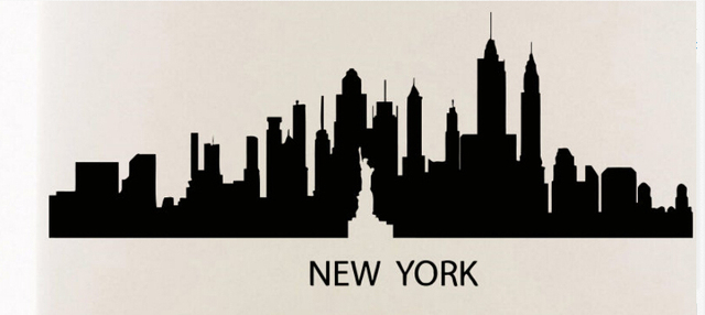 New York Skyline Wall Sticker New York City Skyline Statue Of Libery Wall  Decal Bedroom City