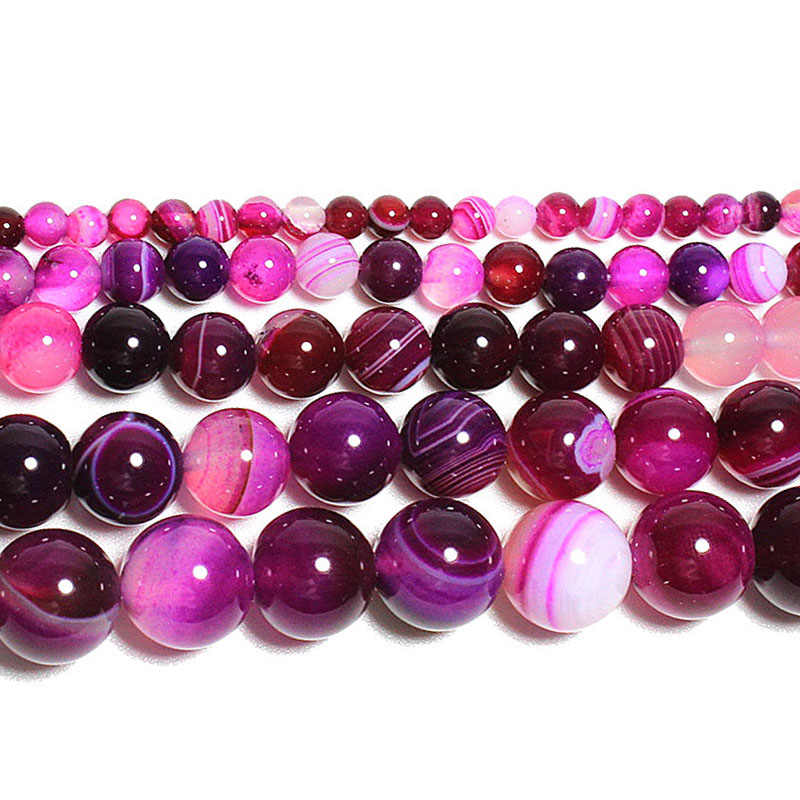 "15""Strand Natural Stone Beads Smooth Rose Red Striped Agates Round Loose Beads For Jewelry Making Necklace Bracelet 4-12mm"