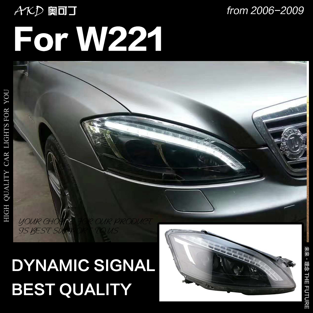 AKD Car Styling Head Lamp for W221 Headlights 2006 2009 S300 S400 Headlight LED DRL Signal