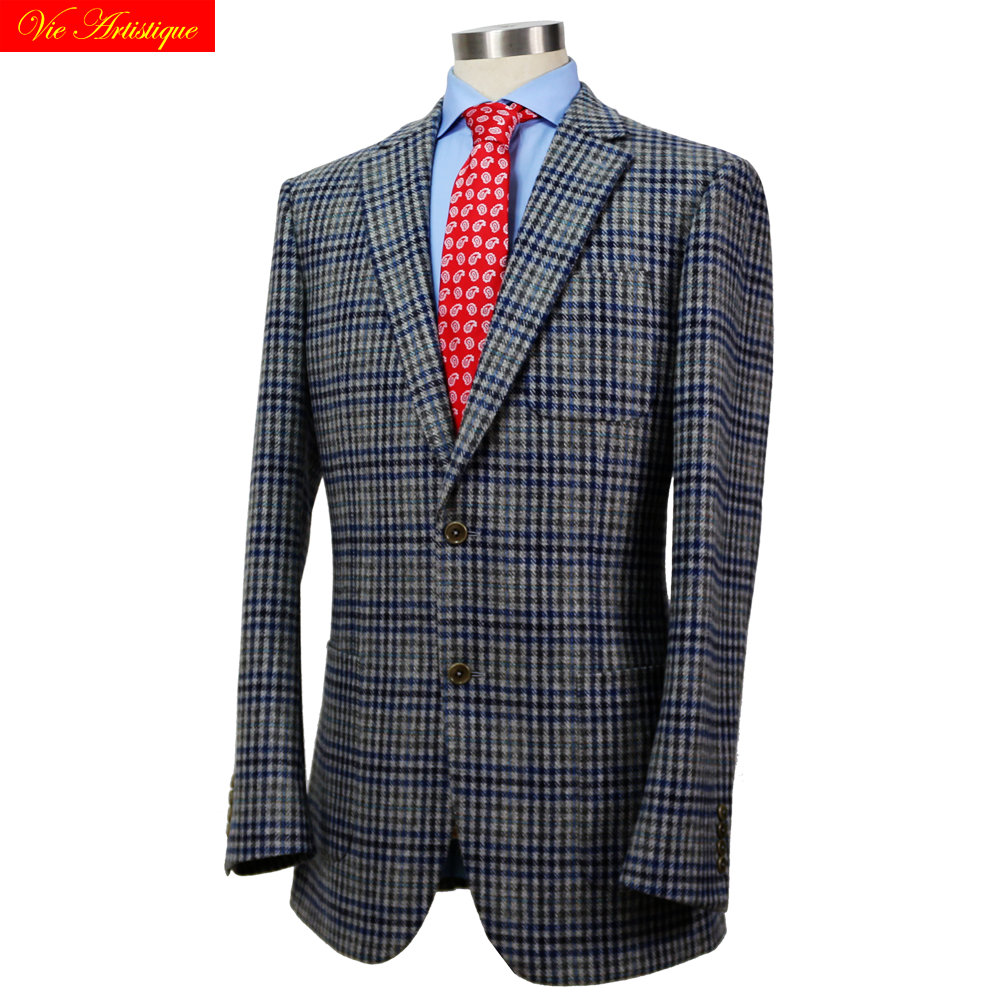 Custom Tailor Made Men's Bespoke Suits Business Formal Wedding Ware Bespoke 1 Piece Jacket Coat Grey Whales Plaid Tweed Wool