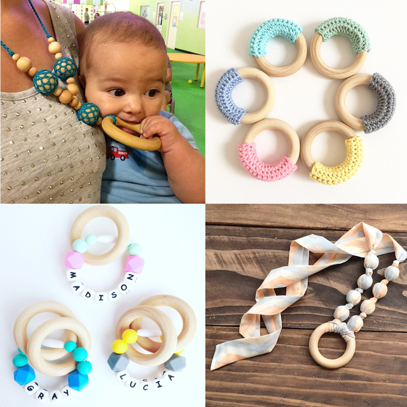 5pcs Crafts DIY Baby Teething Natural Wooden Rings Necklace Bracelet 55mm W25