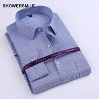 Showersmile брендовая одежда волокна бамбука рубашка мужская с длинным рукавом Slim Fit Вечернее Платье рубашка корейский мода хлопок смешивания