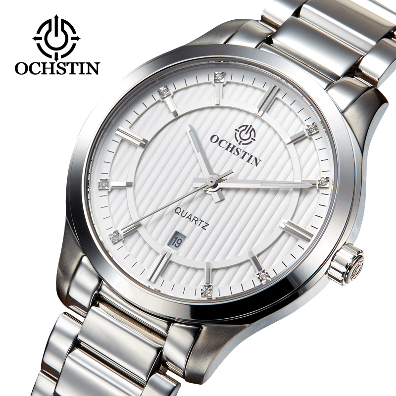Watches Men Silver white Full Steel Military Watches Men s Quartz Clock Men Business Watch Sport