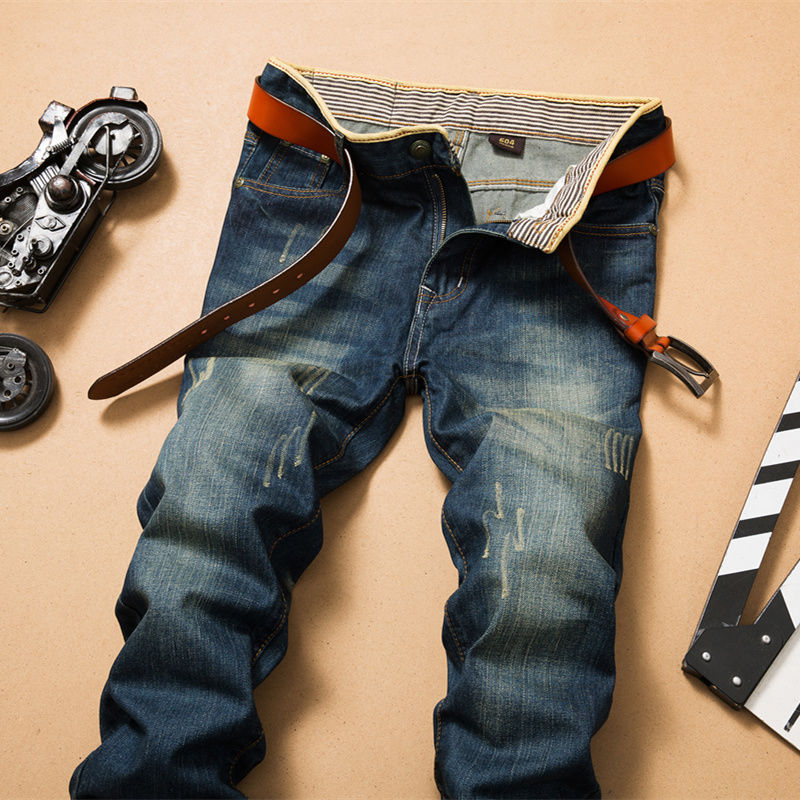 Vintage Stonewash Ripped Jeans Men Brand Quality Denim Pants