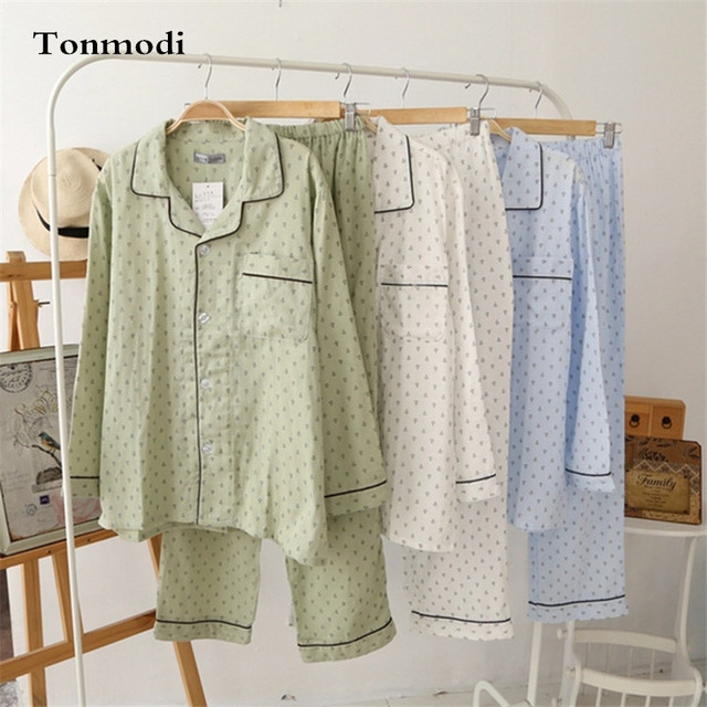 Mens Nightshirts For Pajamas Men 100% Cotton Double Layer Gauze Long Sleeve Sleepwear Men Lounge  Pajama Sets