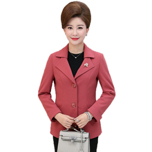 WAEOLSA Chinese Woman Short Blazer Red Green Purple Pink Jacket Suit Middle Aged Womens Notched Collar Blazers Autumn Outfits XL