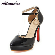 Alionashoo 5 Inches Stiletto Heels Women's 12cm Extremely High Pumps Platform Shoes Large Sizes Basic Solid Color Plus size 48