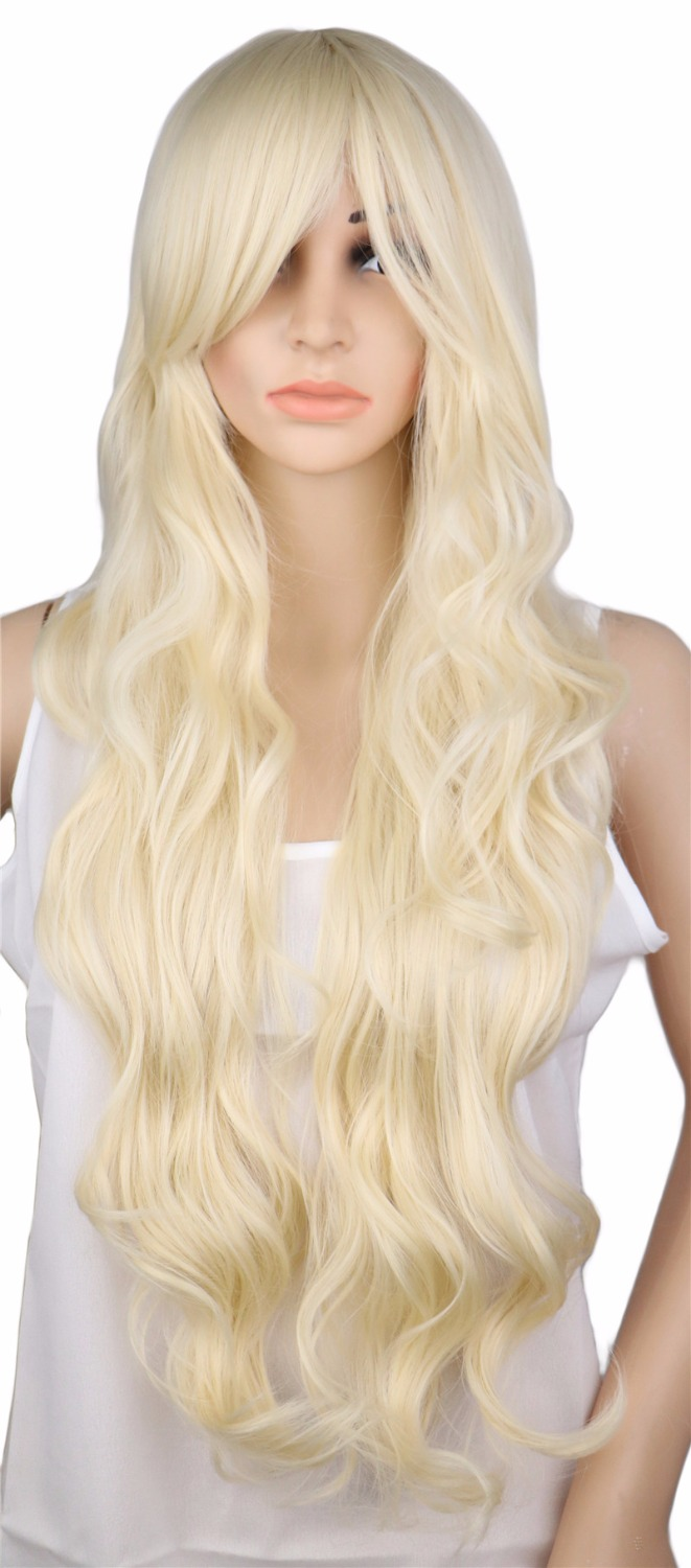 QQXCAIW Long Curly Blonde Wig Cosplay Costume Party Women 70 Cm High Temperature Synthetic Hair Wigs