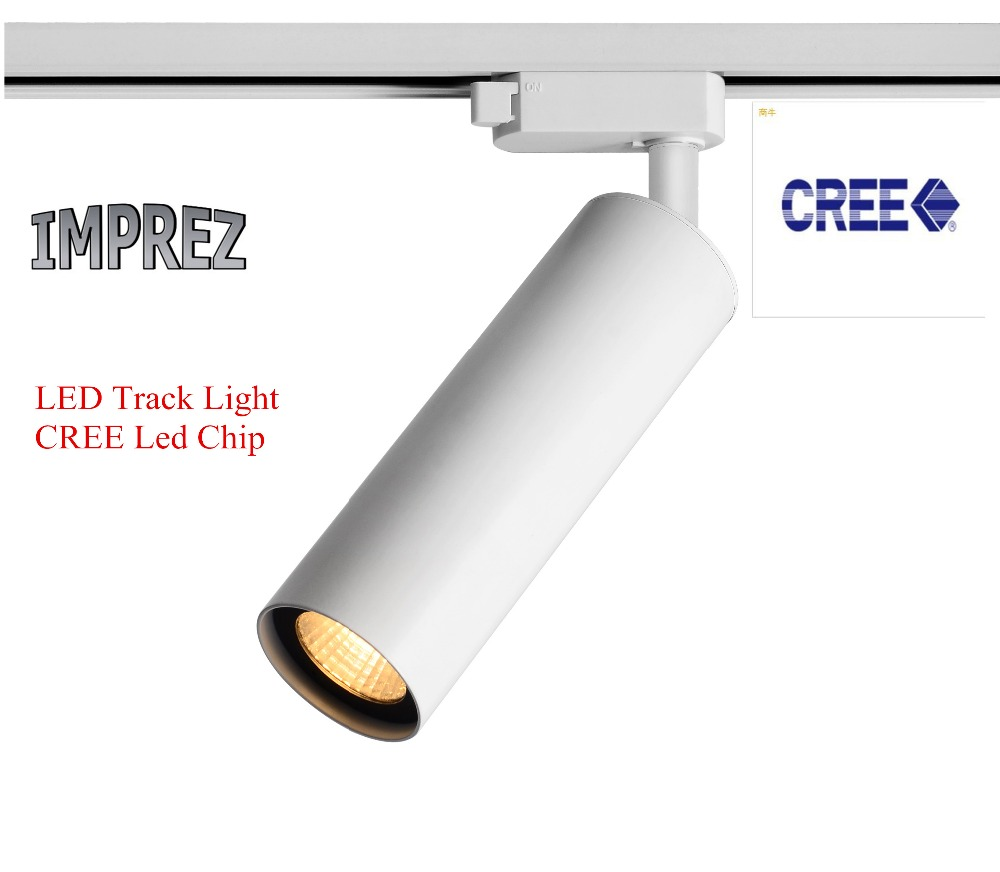 12W CREE LED track light for shopping mall close shop AC100-240V COB led track spot light for museum lighting 3 years warranty led track light50wled exhibition hall cob track light to shoot the light clothing store to shoot the light window