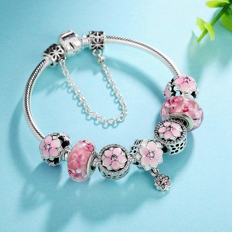 Original 925 Sterling Silver Enamel Magnolia Bloom Duo With Crystal Pendant Beads Pandora Bracelet Bangle Diy