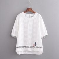 Plus size cotton linen Embroidered women t shirt 2018 half sleeve t shirts women tops tshirt summer tee shirt femme