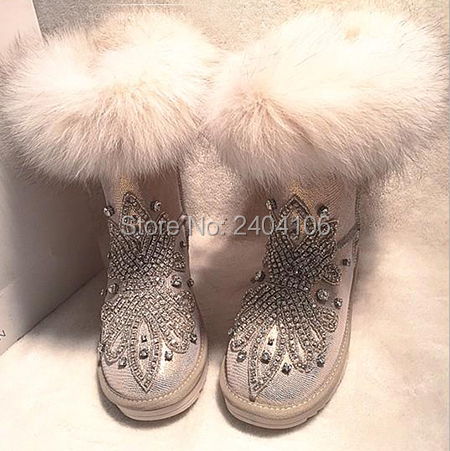 Handmade Australian Fur Inside Warm Winter Snow Boots Rhinestone Crystal Ankle Booties Casual Flat Platform Fashion Botas MujerHandmade Australian Fur Inside Warm Winter Snow Boots Rhinestone Crystal Ankle Booties Casual Flat Platform Fashion Botas Mujer