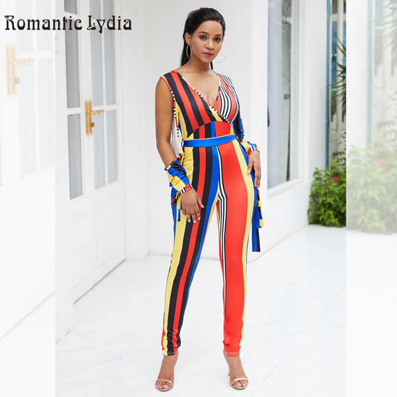 Summer Sexy Jumpsuit Women V Neck Sleeveless Colorful Striped Club Party Casual Jumpsuits Striped Wide Leg Pants Jumpsuit