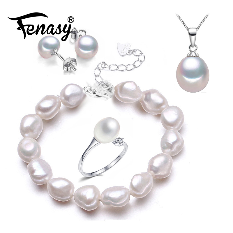 FENASY Trendy S925 Sterling Silver Natural Pearl Bracelet Necklaces Pendants Ring Earrings Jewelry Sets For Women AnniversaryFENASY Trendy S925 Sterling Silver Natural Pearl Bracelet Necklaces Pendants Ring Earrings Jewelry Sets For Women Anniversary
