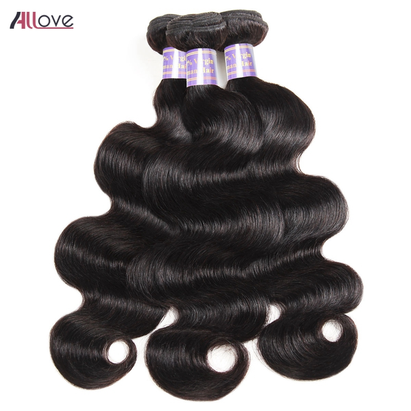 Allove Body Wave Hair Extensions Mongolian Hair Weave 3 Bundles Natural Color 100% Remy Human Hair Bundles Machine Double Weft