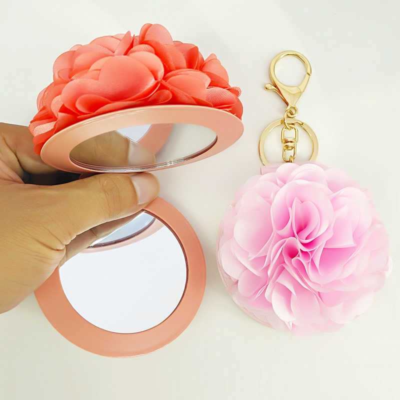 Women Flower Keychain Mirror Decorative Bag Pendants Charms Key Chains Car Key Accessories Fashion Jewelry Party Gifts Children