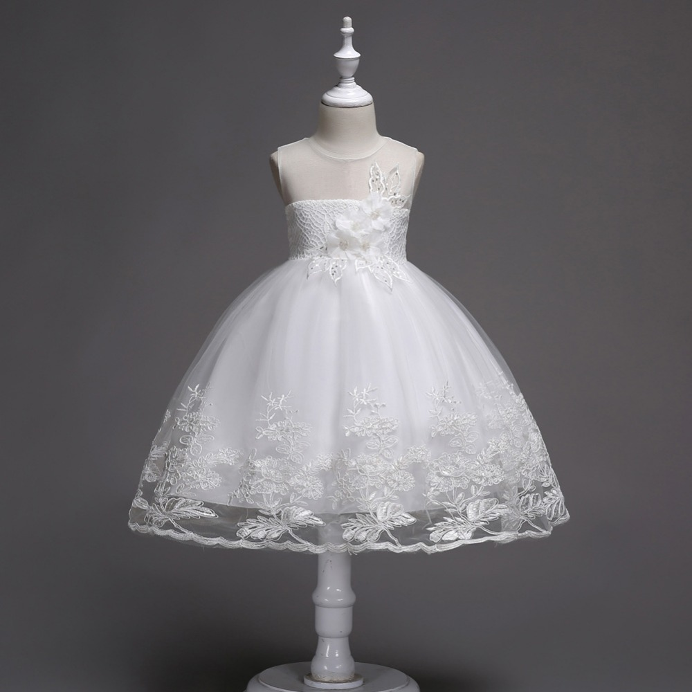 White Children Wedding Prom Dress Flower Girls Princess Costume Elegant Kids Girls Evening Gowns Party Girl Dress up 3 12 Years