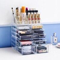 Big size transparent box Fashion cosmetics drawer Fashion Acrylic Cotton Swab Organizer Box Cosmetic Q tip Holder L48