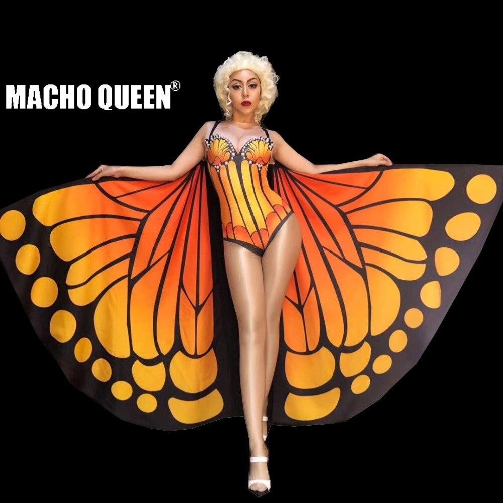Traje da rainha do arrasto borboleta queima homem bodysuit macacão celebridade cantor palco runway roupa feminina festa de aniversário vestir