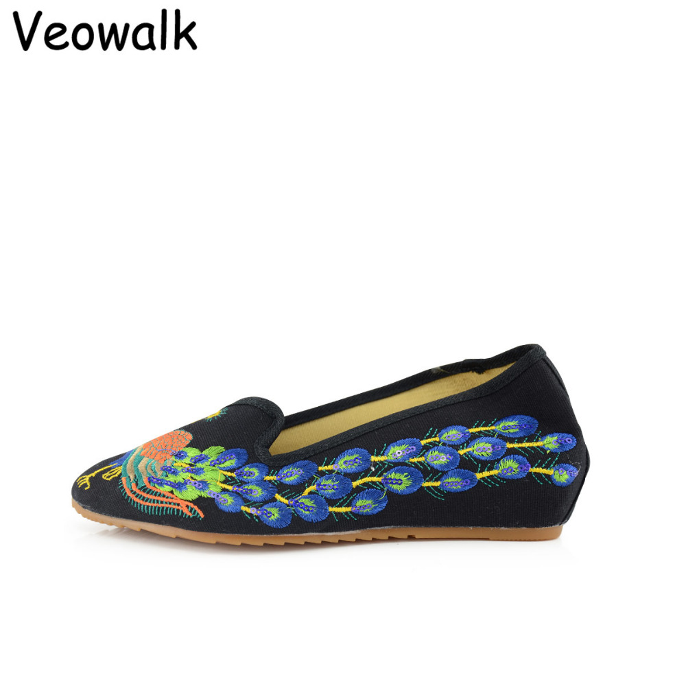 Veowalk Pointed Toe Peacock Embroider Women Casual Slip on Canvas Shoes Elegant Ladies Walking Flats Woman Loafers Zapatos Mujer sweet women high quality bowtie pointed toe flock flat shoes women casual summer ladies slip on casual zapatos mujer bt123