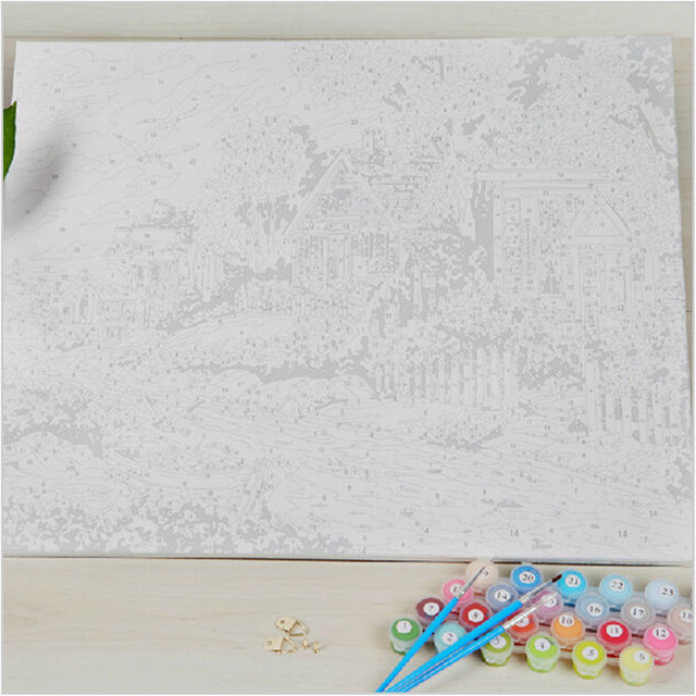 Coloring By Numbers On Canvas Hand Painted Canvas Oil Paintings Modular Landscape Pictures Home Decor Wall Art Flowers SY019