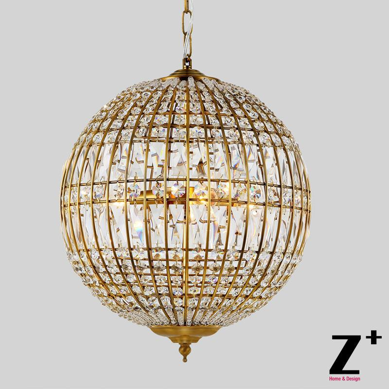 American Style Vintage Globe Shpere Shape Country Crystal Pendant Light China Mainland