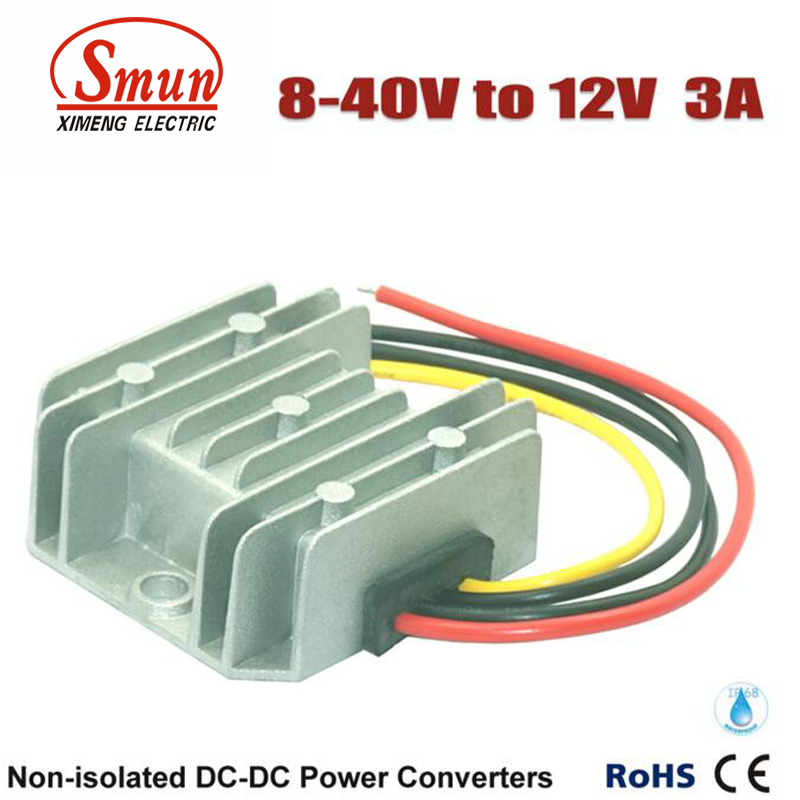 Non-isolated Waterproof 12V 24V 36V to 12V 3A Boost Buck DC-DC Converter  dc dc converter 12v to 24v 5amax 120w for cars non isolated
