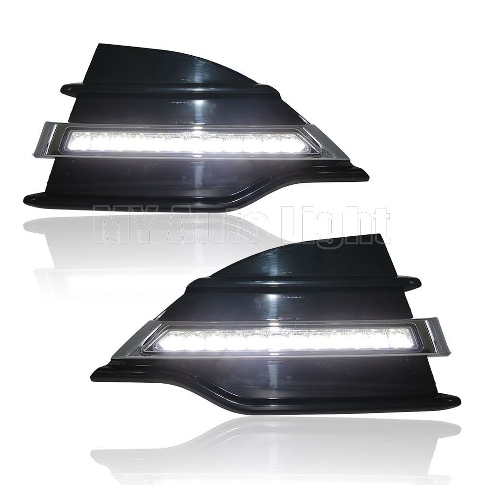 For 2013-2015 Ford Escape Kuga LED Daytime Running Lights DRL Bumper Fog Lamps silver color roof rails rack luggage carrier bars for ford escape kuga 2013 2014 2015 2016 2017