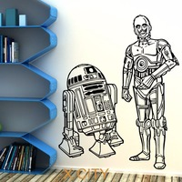 STAR WARS R2D2 AND C3PO DROIDS DUO Movie Vinyl Wall Art Sticker Decal Children Room Door