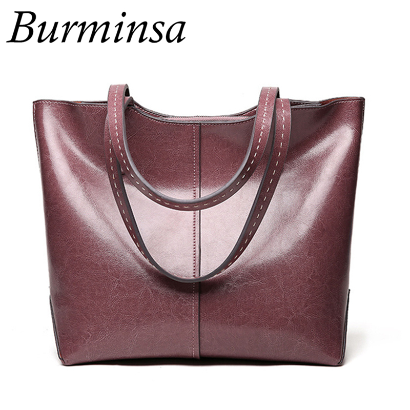 Burminsa Big Genuine Leather Women Shoulder Bags Vintage Large Capacity A4 Ladies Handbags High Quality Female