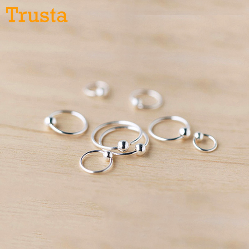 Trusta 925 Sterling Sliver 2pcs Small Tiny Ball Huggie Hoop Earrings 6mm 8mm 10mm 12mm Ear Piercing Tragus Helix Cartilage