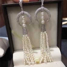 Vendita calda Americano Europeo stili bianco naturale dacqua dolce della perla micro intarsio zircone accessori orecchini dei monili di modo