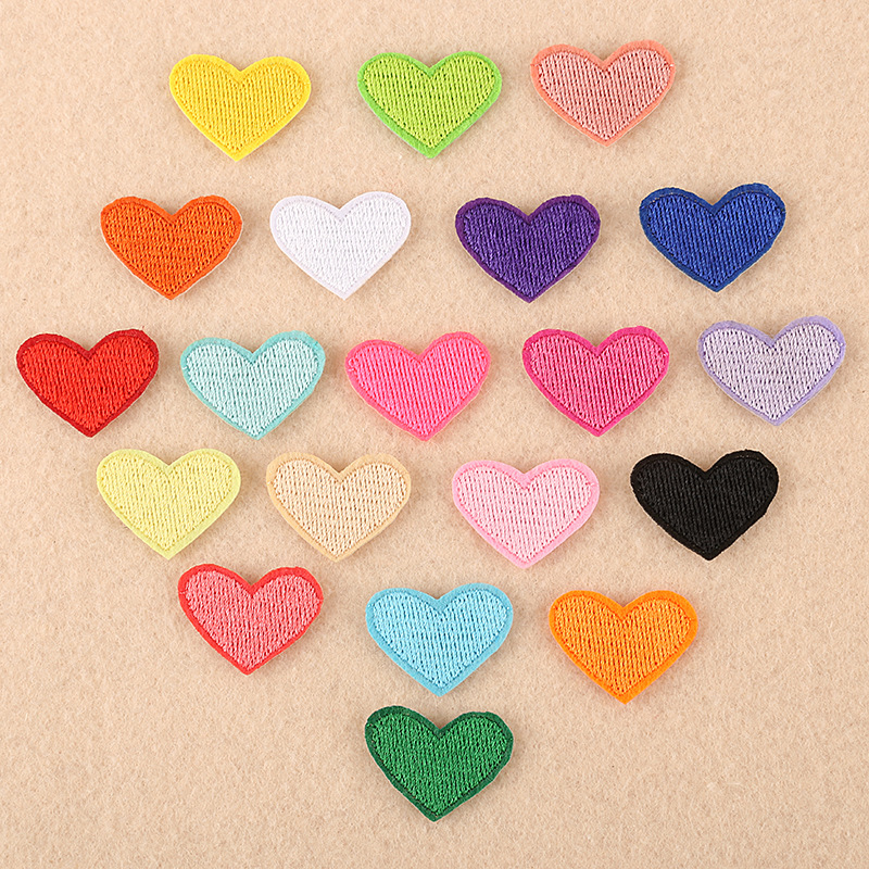 (20 Colors) 2 Pcs/Lot Love Heart <font><b>Patches</b></font> for Clothes DIY Stripes <font><b>Iron</b></font> <font><b>on</b></font> Appliques <font><b>Kids</b></font> Clothing Stickers Embroidery Badges @E image