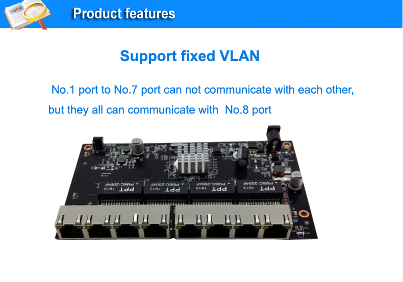 Support fixed Vlan 8 port 10/100/1000M Ethernet reverse poe switch  7 Port PD Switch
