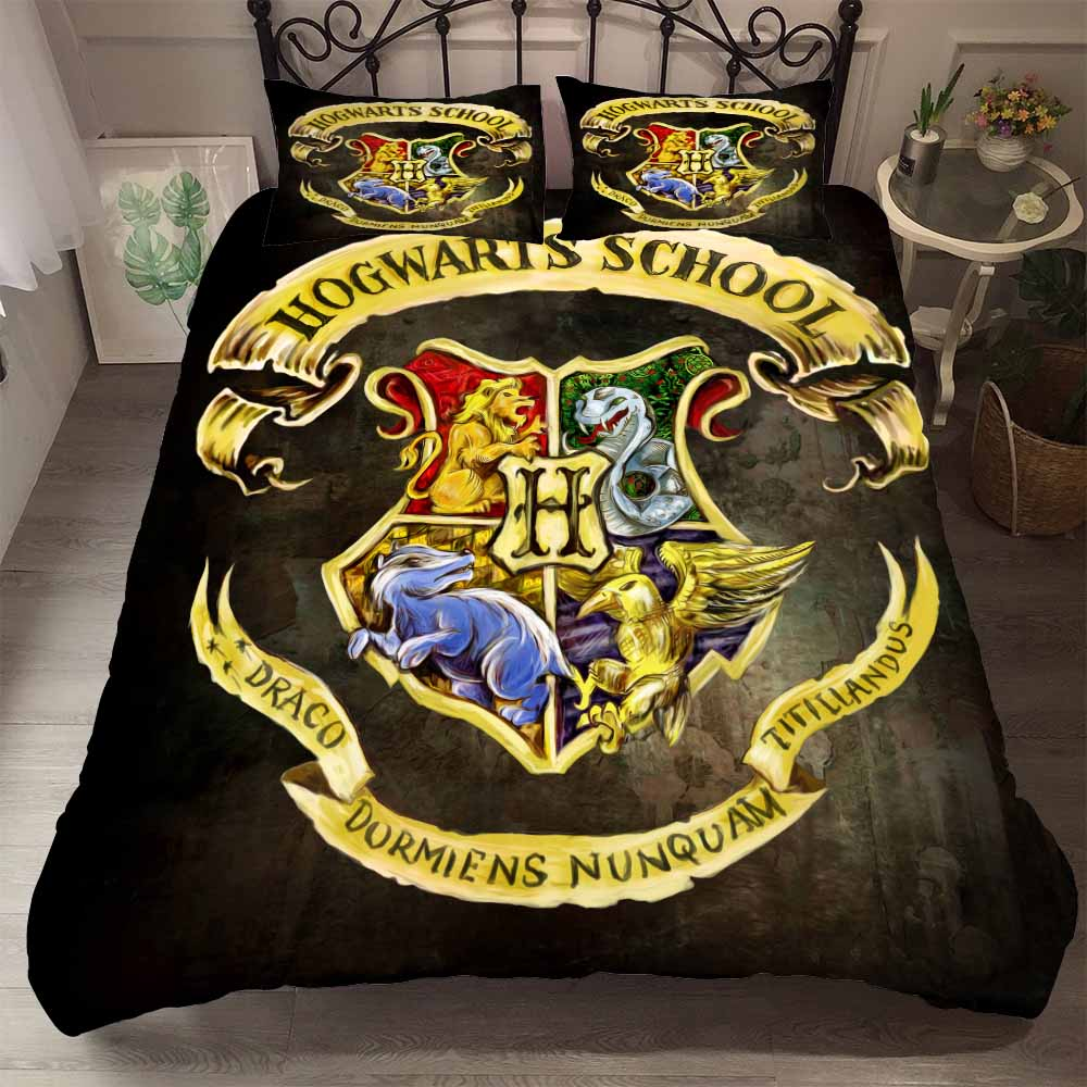HELENGILI 3D Bedding Set Harry Potter Campus Badge Print Duvet Cover Set Bedcloth With Pillowcase Bed Set Home Textiles #HLBT-01(China)