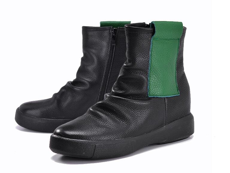 ФОТО Hot 2017 autumn and winter new women's shoes casual leather women's boots increased women boots warm inside flat zipper boots