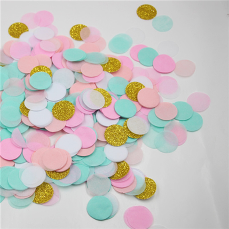1 Inch Circle Blush Pink Mint Green Gold Glitter Wedding Confetti Party  Table Decor and Baby Shower Decor-in Banners 396ac2613539