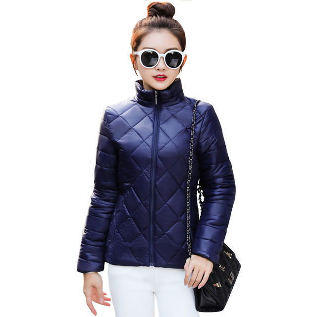 2018 Autumn Women Cotton Padded Winter Green Short Quilted Jackets