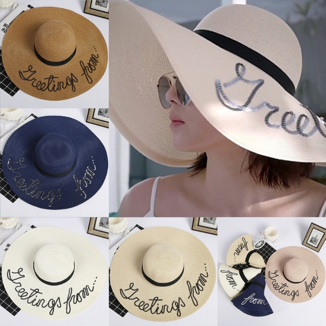 2018 New Women Straw Sun Hat Beach Wear Wide Brim Summer Beach Letter Sun  Cap Beach Large Glitter Sequin Fashion Casual 0b4d47a82c8