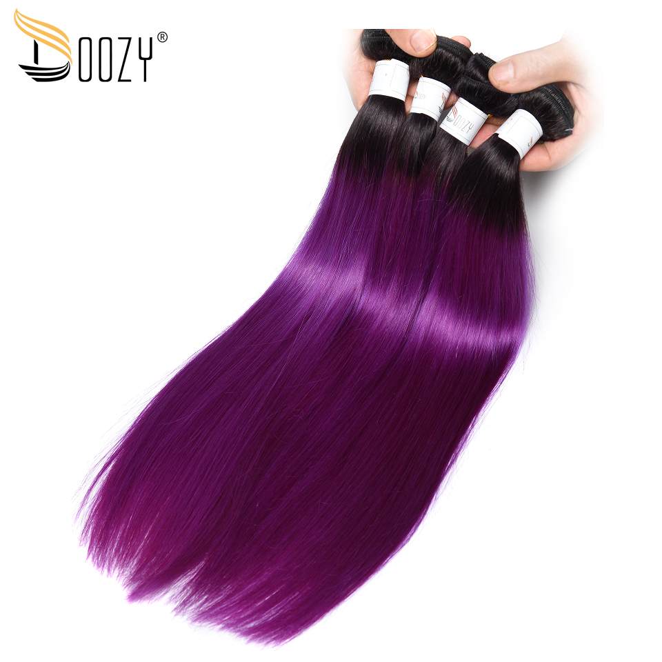 Doozy Ombre 1b/Purple Brazilian Hair 4 Bundles Double Weft Straight Remy Human Hair Weave