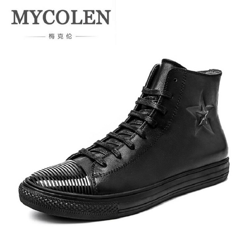 MYCOLEN Fashion Autumn Men Breathable High-Top Lace Up Shoes Men's Flat Espadrilles High Quality Comfortable Black Men Shoes gram epos men casual shoes top quality men high top shoes fashion breathable hip hop shoes men red black white chaussure hommre