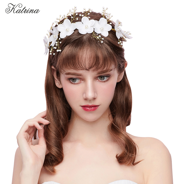 Fashion bridal wreath headdress white flower bride hairband wedding fashion bridal wreath headdress white flower bride hairband wedding hair band accessories pearl headband hair band mightylinksfo