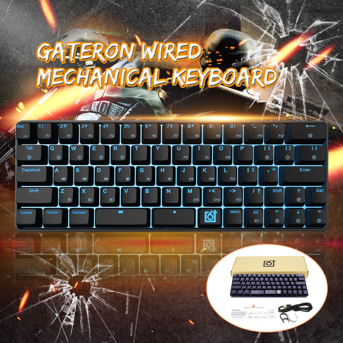 Gateron Optical Switch GK66 USB-C Wired Split-Spacebar Hot-swappable RGB Mechanical Gaming KeyboardGateron Optical Switch GK66 USB-C Wired Split-Spacebar Hot-swappable RGB Mechanical Gaming Keyboard