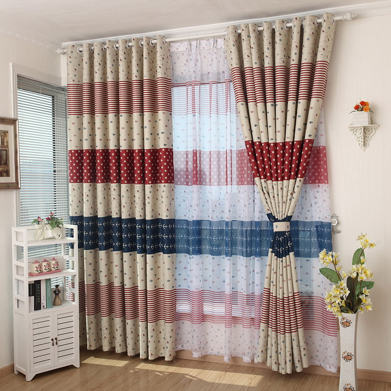 Fashion Stripe Rustic Curtain Yarn Bedroom Living Room: New Curtain Colth Curtain Euramerican Style Living Room