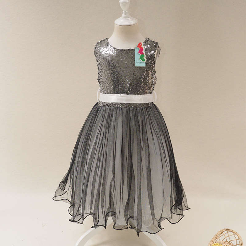New Baby Dress Girls Sequins Princess Party Wedding Girl Dresses Summer CB6D