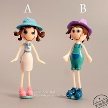 pvc figure cute boy and girl model ornaments 2pcs/set