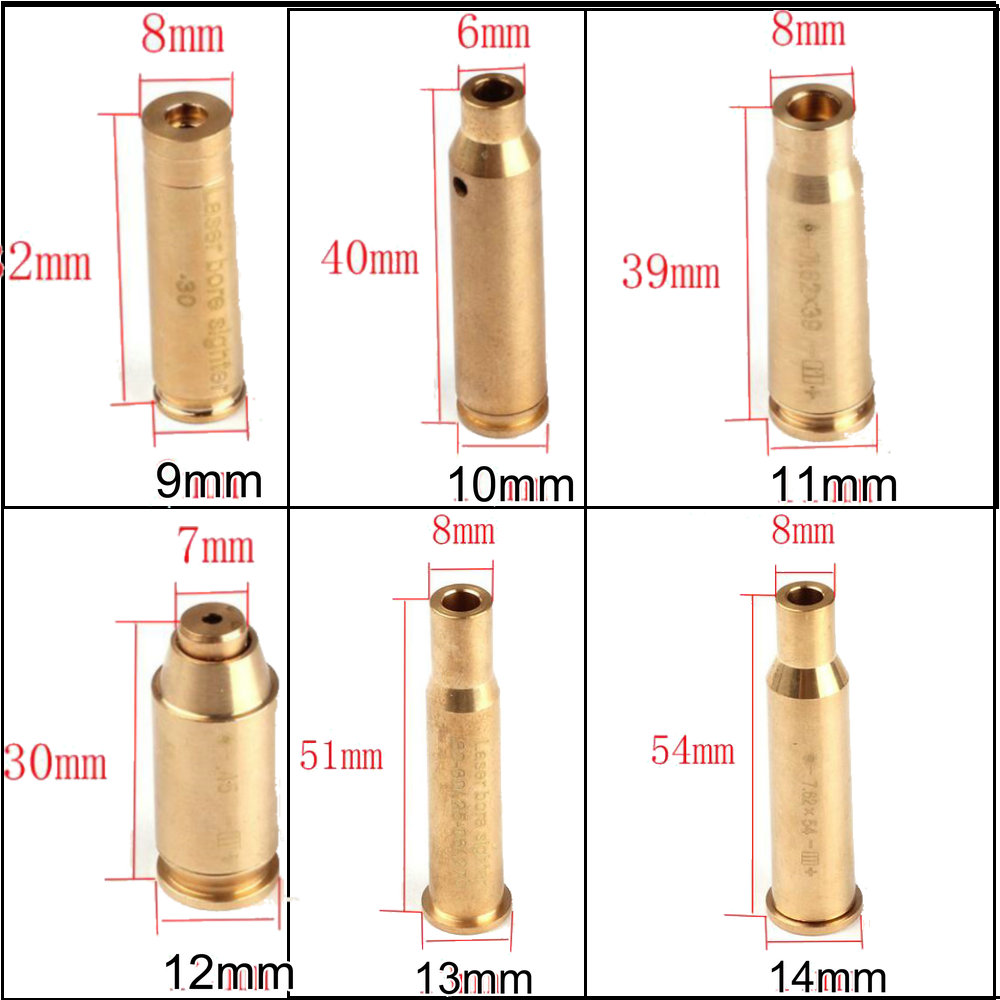 ohhunt CAL  9mm  45  30  222REM  223REM 7 62X39 30-30WIN 7X57R  308 7 62X54   38 Cartridge Red Laser Bore Sighter Boresighter