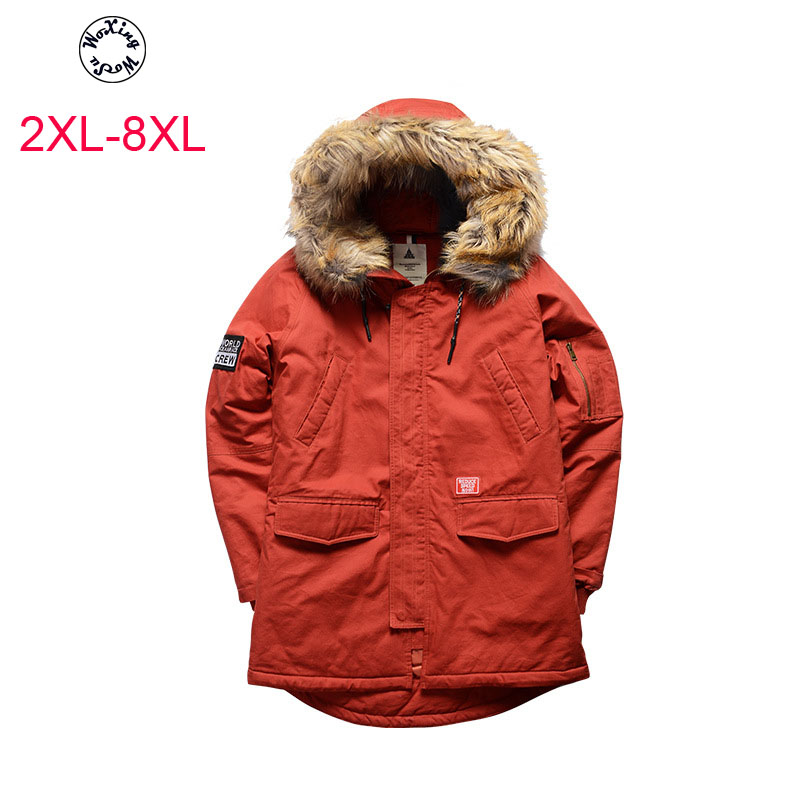 Woxingwosu men's cotton padded clothes collars cotton padded jacket loose fat leisure coat. thick jacket size 2xl to 6 7xl 8xl