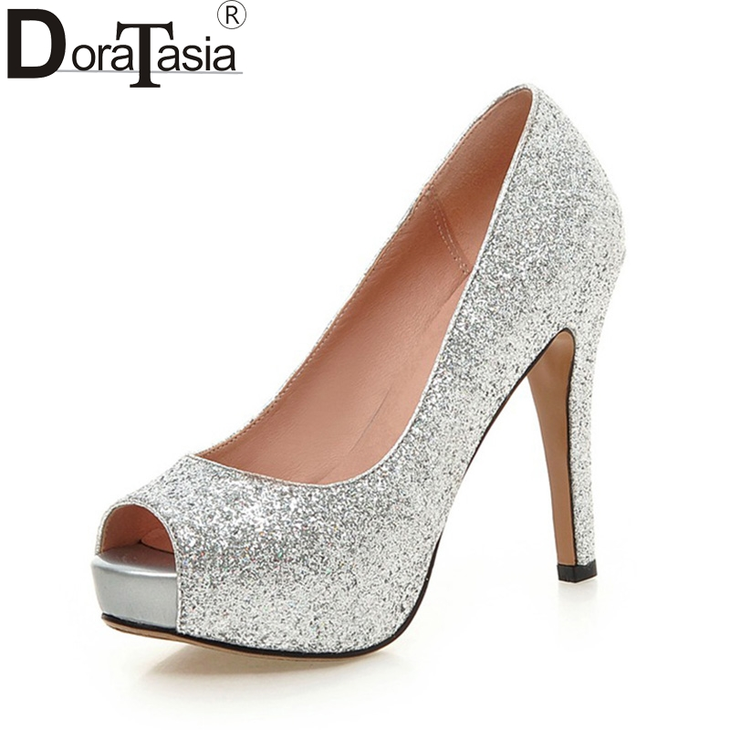 DoraTasia New Large Size 34-43 Peep Toe Platform Women Shoes Woman Sexy Bling Upper Thin High Heels Party Wedding Pumps summer bling thin heels pumps pointed toe fashion sexy high heels boots 2016 new big size 41 42 43 pumps 20161217