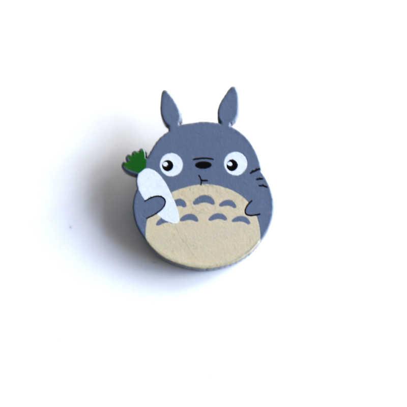 Nengdou M11 Kawaii Pin Hayao Miyazaki ikona drewniana broszka w japońskim stylu Harajuku odznaka urocza broszka Totoro ikona Anime odznaka dla dzieci